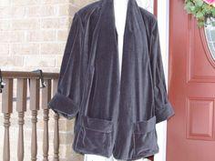 Vintage Grey Cotton Velvet Swing Coat by DATChameleon on Etsy Victorian Coat, Swing Coats, Cotton Velvet, How To Look Classy, Glamour, Grey, Sleeves, Stuff To Buy, Vintage