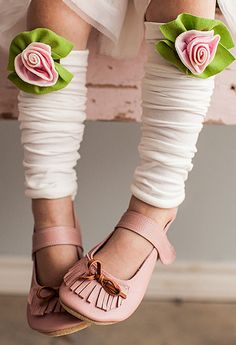Strawberry & Cream Petite Rose Leg Warmers