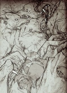 "rusakko-art: ""I have no idea what's going on in this picture but I sure am having fun drawing it "" Animal Drawings, Cool Drawings, Werewolf Art, Creepy Art, Art Inspo, Art Sketches, Amazing Art, Cool Art, Concept Art"