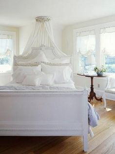 Love the bed on an angle & canopy by mona