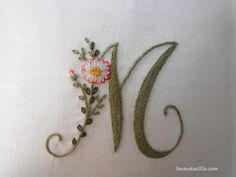 Elisabetta ricami a mano: Soffocata dai fiori Elizabeth Hand embroidery: Suffocated by flowers M - beautiful embroidery monogram ℳarina, Letter ℳ, Monogram Ribbon Embroidery Tutorial, Basic Embroidery Stitches, Embroidery Alphabet, Hand Embroidery Videos, Embroidery Flowers Pattern, Creative Embroidery, Embroidery Monogram, Silk Ribbon Embroidery, Hand Embroidery Designs