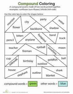 This is another version of a word sort of compound words. In this activity students sort the words by coloring them one color if they are compound and another if they are not.