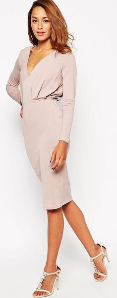 ASOS Jersey Crepe Deep Plunge Midi Dress  £35.00      Pinned from  asos.com