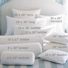 Bedding basics for home decor sewing: Accent pillow shapes, sizes, and names.
