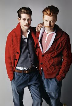 Francois Ververk & Hugo Villard by Babette Pauthier for WAD magazine 'The Man Issue' (the mustaches! the hair! the knits! can you blame them? no, no you can't.)