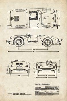 Porsche Spyder - Automotive Decor - Patent Print Poster Wall Decor - 0086 Porsche 550, Porsche Replica, Poster Wall, Poster Prints, Posters, Automotive Decor, Automotive Tools, Automotive Design, Old Sports Cars