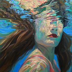 Underwater painting - Breathtaking Oil Paintings Capture Moments of Tranquility Below the Water's Surface – Underwater painting L'art Du Portrait, Portraits, Portrait Paintings, Art Oil Paintings, Reflection Art, Underwater Painting, Art Tribal, Water Art, Painting Of Water