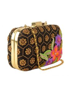 Floral Embroidered Black Box Clutch by Kareishma Sarnaa