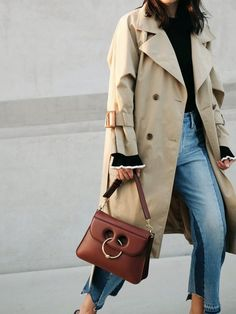 Fashion Gone rouge Outfit Ideen Herbst Blue Jeans, Denim Jeans, Beige Top, Fall Fashion Trends, Fall Trends, Fall Winter Outfits, Autumn Winter Fashion, Jw Anderson Bag, Trench Beige