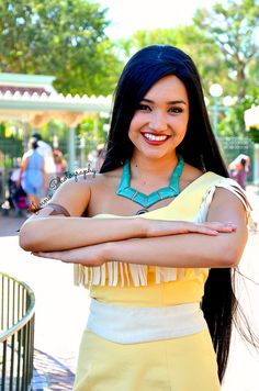 Pocahontas is like the sweetest character to meet at the parks she is so nice! I would know I got to meet her!
