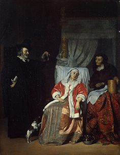 Gabriel Metsu Solid-Faced Canvas Print Wall Art Print entitled The Patient and the Doctor, Canvas Wall Art, Wall Art Prints, Oil On Canvas, Poster Prints, Gabriel Metsu, Gerrit Dou, Infinite Art, Hermitage Museum, Dutch Golden Age