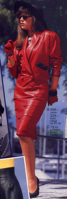 red leather skirtsuit with shoulder pads – power dressing - Women's fashion and Women's Bag trends 80s Fashion, Skirt Fashion, Vintage Fashion, 80s Ladies Fashion, Fashion Models, Fashion Brands, Power Dressing Women, Cuir Vintage, Vintage Leather