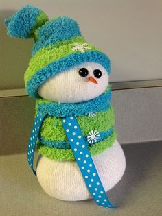 Sock snowman - love the fuzzy sock and colors idea