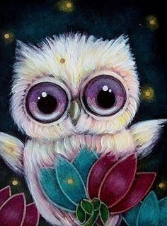 Art: SPRING TINY PINK YELLOW OWL  FIREFLIES by Artist Cyra R. Cancel
