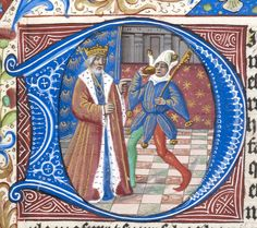 Detail of an historiated initial 'D'(ixit) of a king and fool at the beginning of Psalm 52.