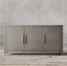 Graydon Shagreen Panel Triple-Door Sideboard by Restoration Hardware in Fog Shagreen