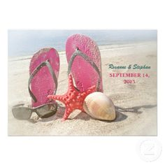 Very nice and funny beach wedding invitations with composition in bright day at the sea: sun glasses, starfish, sea shell, and red flip flop slippers in the sand.