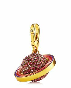"""PAVE JUPITER CHARM $48.00 STYLE NUMBER: YJRU7714   Add to wish list ADD TO BAG Special Offer 40% off Full-Priced Jewelry DESCRIPTION Who runs the world? Juicy girl, you run the galaxy so you need this pave-encrusted charm. Juicy logo on lobster clasp. Gold tone. 1.53"""" L x 1.53"""" W x 1.77"""" H Imported"""