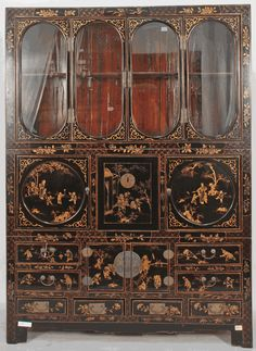 Antique Asian Furniture: Antique Chinese Chinoiserie-Style China Cabinet from China