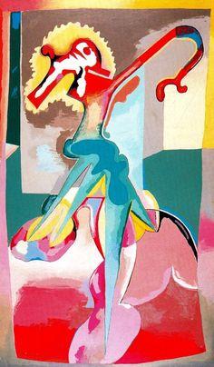 Asténica entrando. 1971. Pintura acrílica sobre tela, 190 x 111 cm. Colección particular. Obra de Luis Gordillo