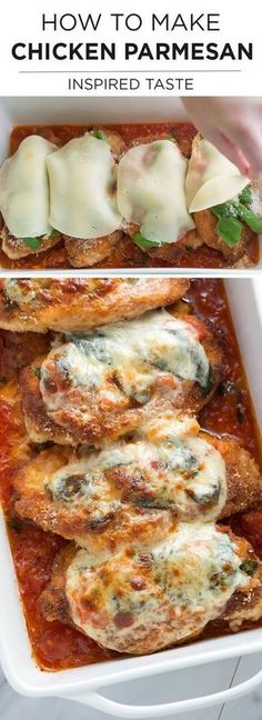 How to make Chicken Parmesan with a fresh tomato sauce and basil | From inspiredtaste.net @inspiredtase #chicken #dinner