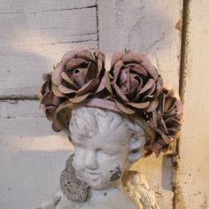 Large rose statue crown pink and gold rusted by AnitaSperoDesign