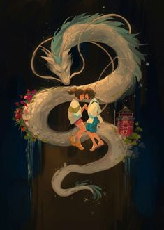 Haku and Chihiro Studio Ghibli Art, Studio Ghibli Movies, Fantasy Kunst, Fantasy Art, Anime Kunst, Anime Art, Spirited Away Haku, Spirited Away Dragon, Personajes Studio Ghibli