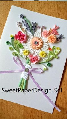 Paper Quillied beautiful Spring Flower Bouquet for Wedding card,Mothers day,Happy Birthday,Congratulations , Happy Anniversary Card by SweetPaperDesignSol on Etsy