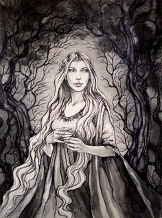 Elrond's wife, Celebrian, (Stitched up and waiting for him in the Undying Lands ? Poor wifey, it's such a sad story.) Artist unknown.