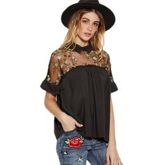 Cheap vintage blouse, Buy Quality summer tops directly from China top women Suppliers: SHEIN Summer Tops Black Flower Embroidered Sheer Neck Ruffle Cuff Tie Back Top Woman Short Sleeve Vintage Blouse Boho Fashion, Fashion Outfits, Fashion Trends, Fashion Black, Fashion Clothes, Fashion Ideas, Vintage Fashion, Estilo Hippie, Bohemian Mode