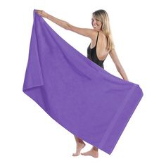Oversized Personalized Purple Beach Towel King Size 36 X 65 Loop Terry... ($35) ❤ liked on Polyvore featuring home, bed & bath, bath, beach towels, bathroom, home & living, purple, terry beach towel, oversized beach towels and personalized beach towels