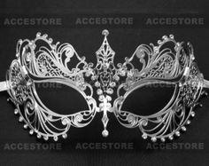 Silver Rhinestones Charming Princess Venetian Phantom of Opera Masquerade Party Halloween Party Ball Eye Mask