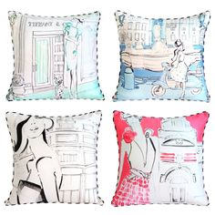 Miss Lou Lou cushions by Kerrie Hess for Brown Trading Co