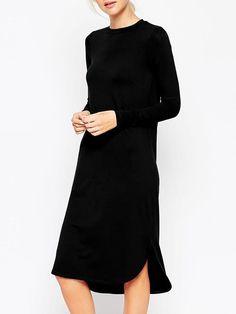 Black Round Neck Split Loose Dress 14.08
