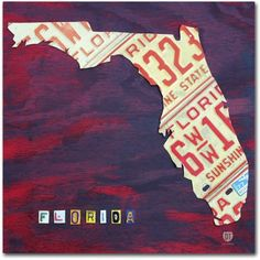 Trademark Fine Art 'Florida License Plate' Canvas Art by Design Turnpike, Size: 24 x 24, Multicolor