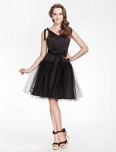 V-neck A-line Satin And Tulle Bridesmaid Dress - USD $ 77.99 @ileonard1395