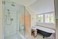 Cool A claw-foot tub mixed with modern shower in the farmhouse bath  - Modern Farmhouse Style - A Little Bit Country....A Little Bit Rock and Roll