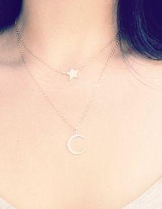 Hinuhinu - (HEE noo HEE noo) - bright, glittering, splendid.    Beautiful double strand gold moon and star necklace. https://www.etsy.com/listing/207572526 http://instagram.com/kealohajewelry