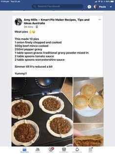 Mini Pie Recipes, Waffle Maker Recipes, Cooking Recipes, Healthy Recipes, Afternoon Tea At Home, Spaghetti Pie, My Pie, Family Meal Planning, Mini Pies
