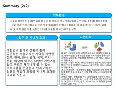 Summary (2/2)  외부환경  서울을 방문하는 1,148만명의 외국인 중 70% 가 중구(명동)/종로구(인사동, 북촌)를 방문하는데  , 서울 관광 전체 시장규모 연간 약 17조원(방문객*평균지출비용) 중 종로/중구는...