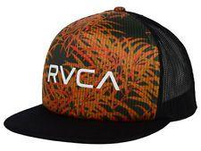 RVCA Trucker Print Adjustable Snap Back Cap/Hat Black w/ Orange $27