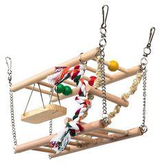 Suspension Bridge 2 Storeys Hammock Swing Wooden Activity Toy Hamster Gerbil Rat #Trixie