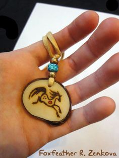 Horse Totem Necklace Tagua Pendant - Handmade Glyph Jewelry Native American…