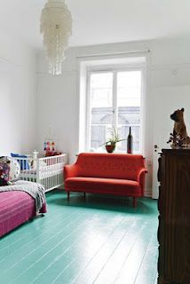 Teal Aqua painted floors - could I be this brave?