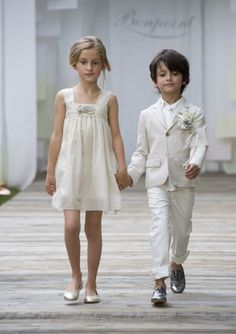 Forever And A Day Italy cute flower Girl and Ring Bearer summer wedding. love the metallic shoes! Trendy Kids, Stylish Kids, Modern Kids, Little Fashion, Kids Fashion, Little Girl Dresses, Flower Girl Dresses, Flower Girls, Holy Communion Dresses