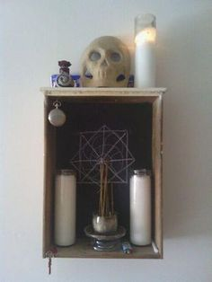 small living room altar - the back of the altar is painted with chalkboard paint… easy to sigil or whatever. (like the chalkboard idea) - great idea for small ancestor altar Magick, Witchcraft, Arte Elemental, Pagan Altar, Home Altar, Pagan Witch, Modern Witch, Book Of Shadows, Occult
