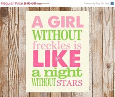 A Girl without Freckles Quote  |  {Etsy}