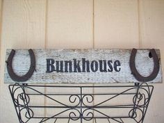 Rustic Wood Sign Western Sign Bunkhouse With Horseshoes Country Porch Ranch Sign