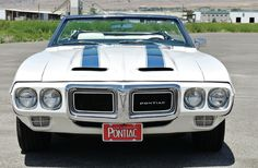 1969 #Pontiac #TransAm #Convertible - Look at that big old smile. #American #MuscleCar #Power #Speed #Grille #Chrome