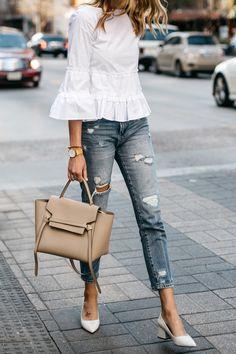 Fashion Jackson, Club Monaco White Ruffle Top, Denim Ripped Relaxed Jeans, White Block Heel Pumps, Celine Belt Bag